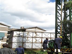 Our drilling rig in the construction site of Kenya